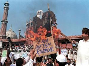 protests against Salman Rushdie