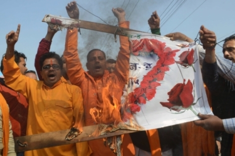 Protests in india against Valentines Day